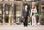 Jaime Driggs and Amy E. Papenhausen meeting outside